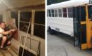 Esta pareja reparó un autobús escolar y lo convirtió en la casa de sus sueños