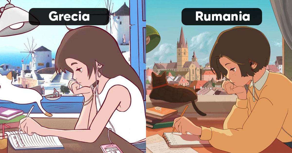16 Artistas pintaron a la misma chica como si estuviera estudiando en diferentes países
