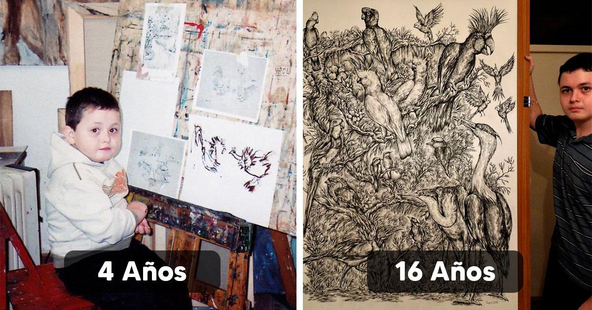 Desde los 2 años él quería ser artista, ahora 14 años después sorprende con su arte