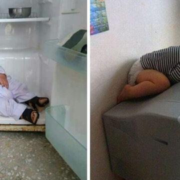 12 Bebés que lograron dormirse en los lugares más inesperados