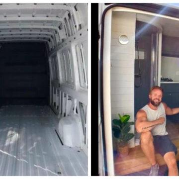 Hombre convierte su transporte de trabajo en una magnífica casa rodante