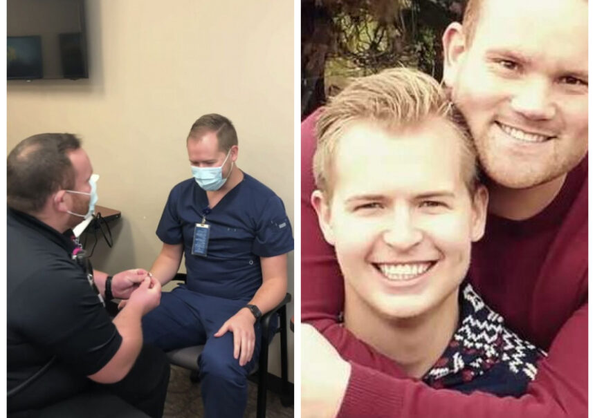 Paramédico recibe vacuna contra el COVID-19 y segundos después una propuesta de matrimonio por el mismo enfermero