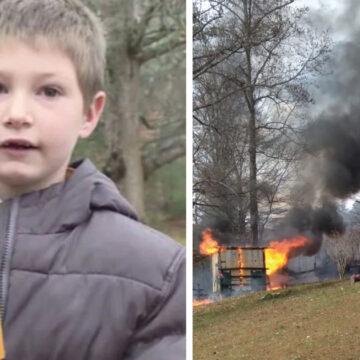 Niño de 7 años entra a su casa en fuego para rescatar a su hermanita de meses