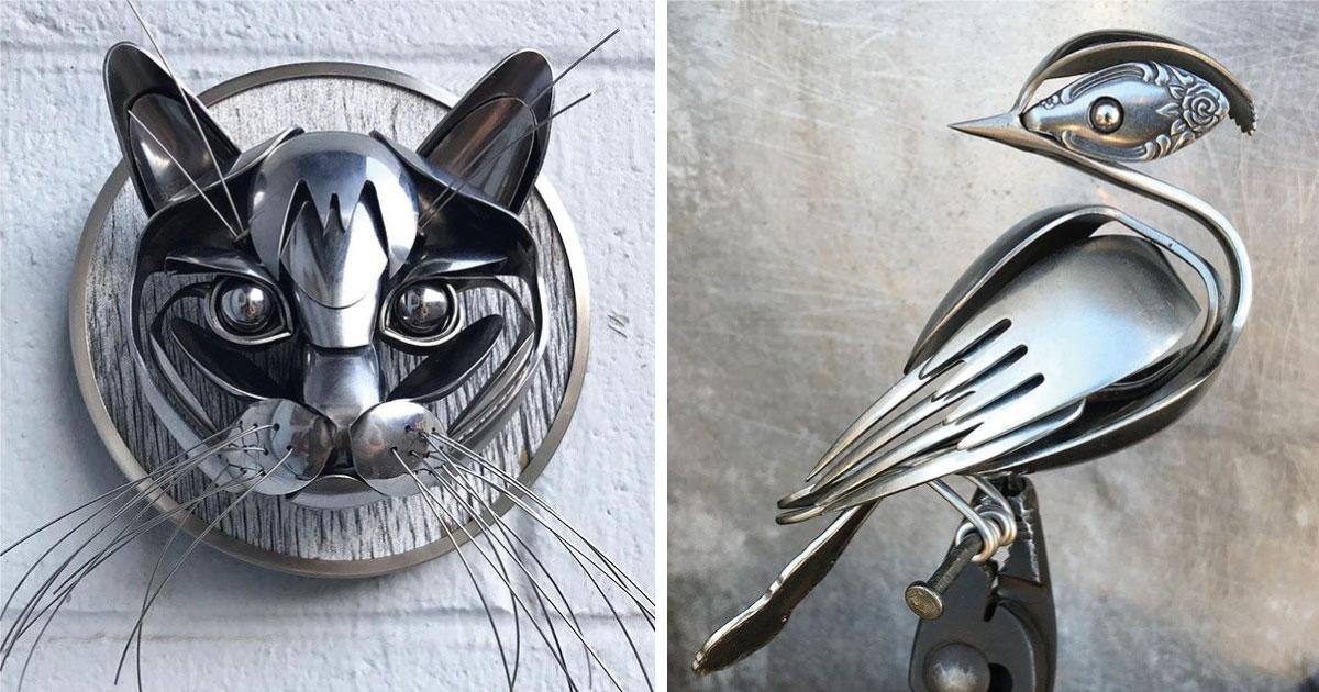 Un artista hace esculturas con cubiertos reciclados que parecen obras de arte