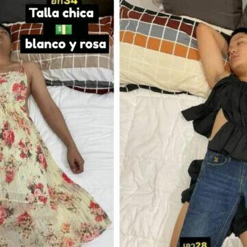 Aprovechó que su esposo estaba dormido para usarlo de maniquí para vender ropa