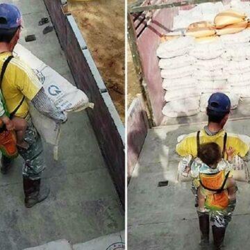 Este padre viudo trabaja con su hijo en la espalda para no dejarlo solito