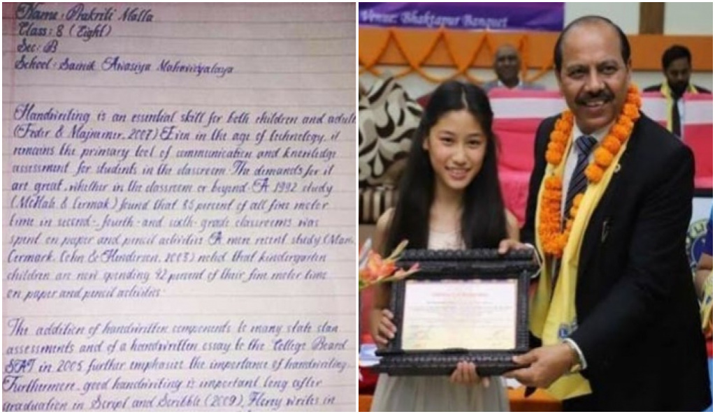 Con solo 14 años esta niña tiene una caligrafía perfecta, envidiable por todos