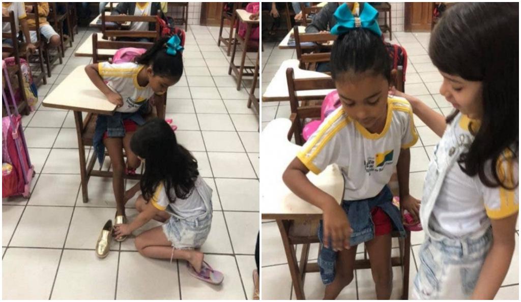Niña tiene un lindo gesto con su compañera y hace llorar a la profesora