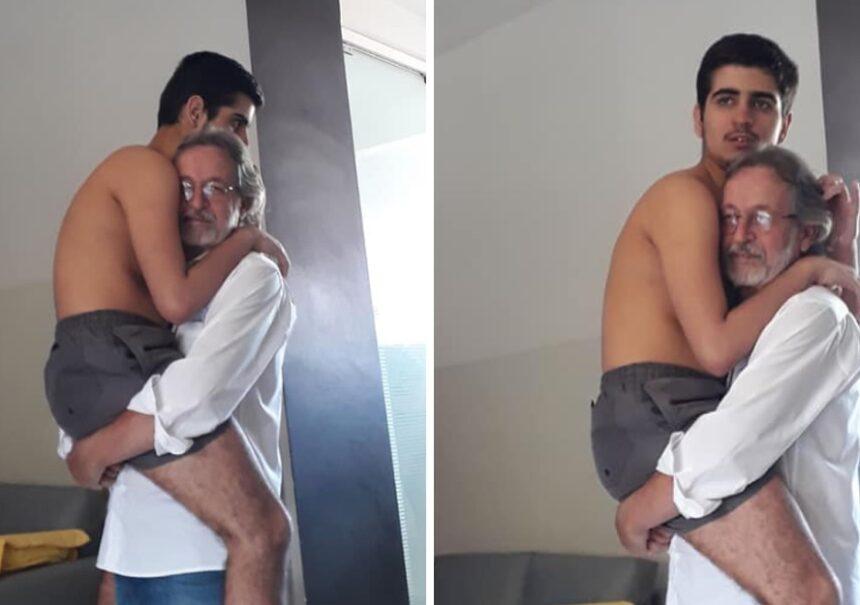 Amor sin límites: abuelo todavía consiente y carga a su nieto autista de 17 años
