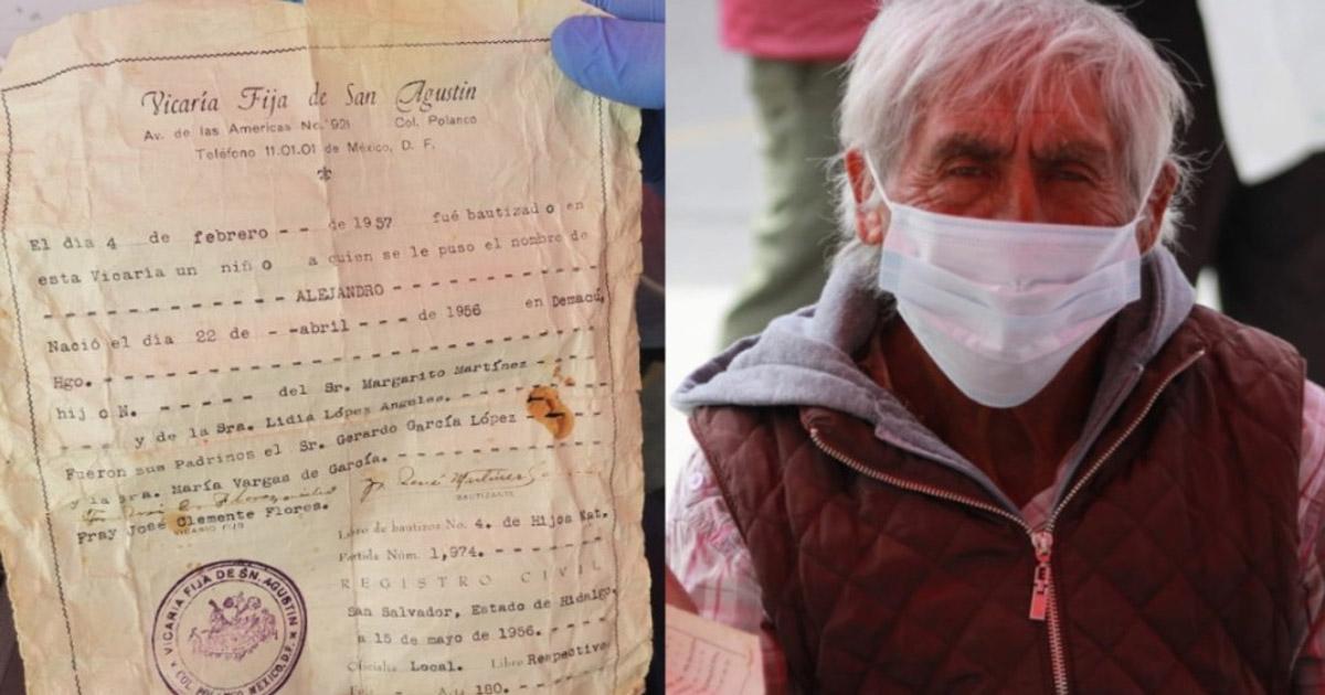 Abuelito no tiene como comprobar su edad para la vacuna anticovid así que lleva su fe de bautismo