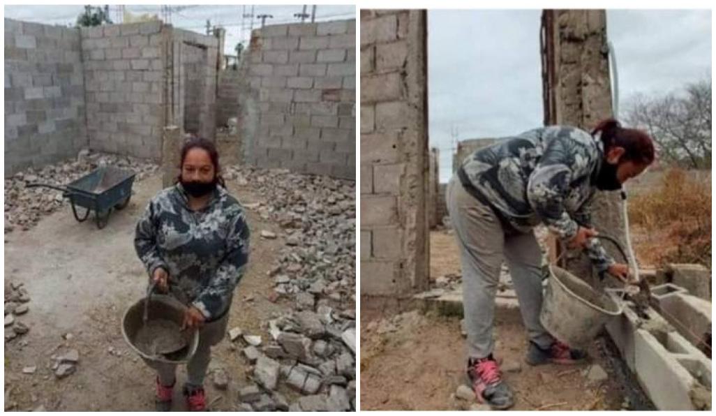 Madre decide construir sin ayuda de albañiles su propia casa.