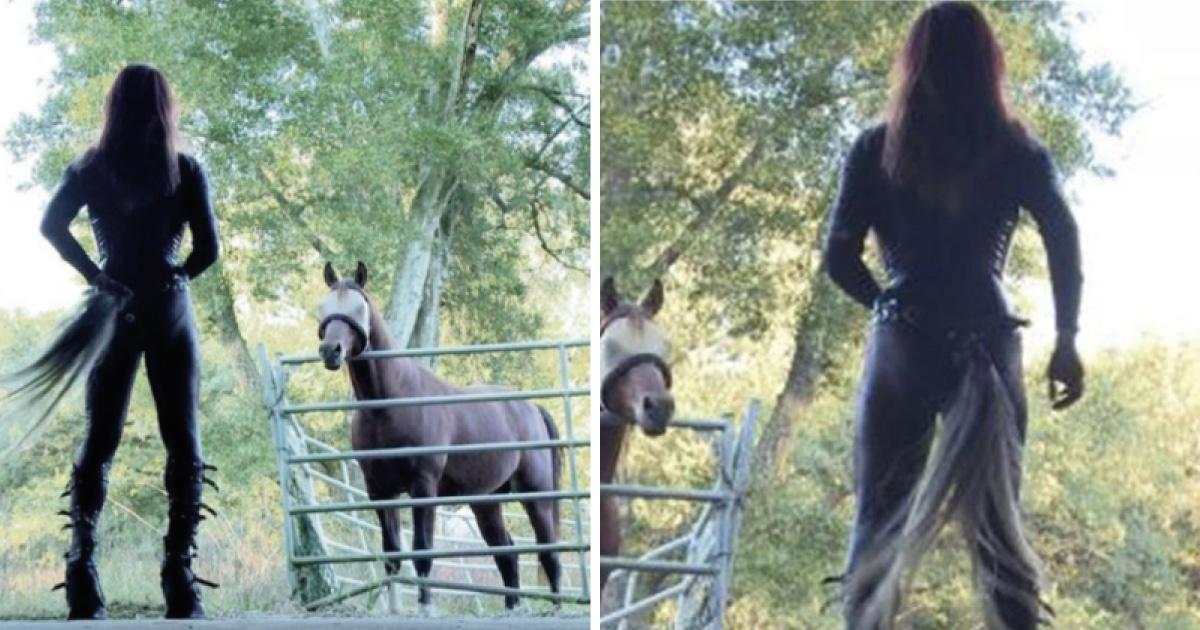 Ella es Karen la mujer trans que se identifica como caballo y actúa como uno: Video
